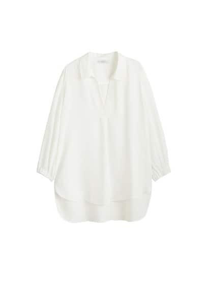 Dökümlü uzun bluz Siyah,Kırık Beyaz Ürün Resmi