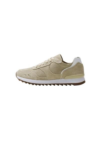 Lazer kesim deri spor ayakkabı Bej Ürün Resmi