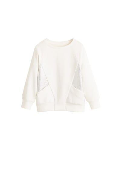 Gümüş kesim sweatshirt Beyaz Ürün Resmi