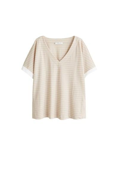 Violeta BY MANGO V-neck striped t-shirt