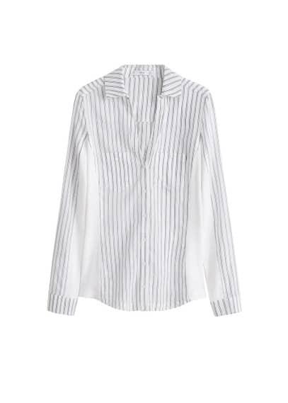 Desenli koton gömlek Beyaz,Gök Mavisi Ürün Resmi