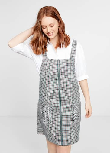 Houndstooth pinafore dress - Plus sizes | Violeta by Mango USA