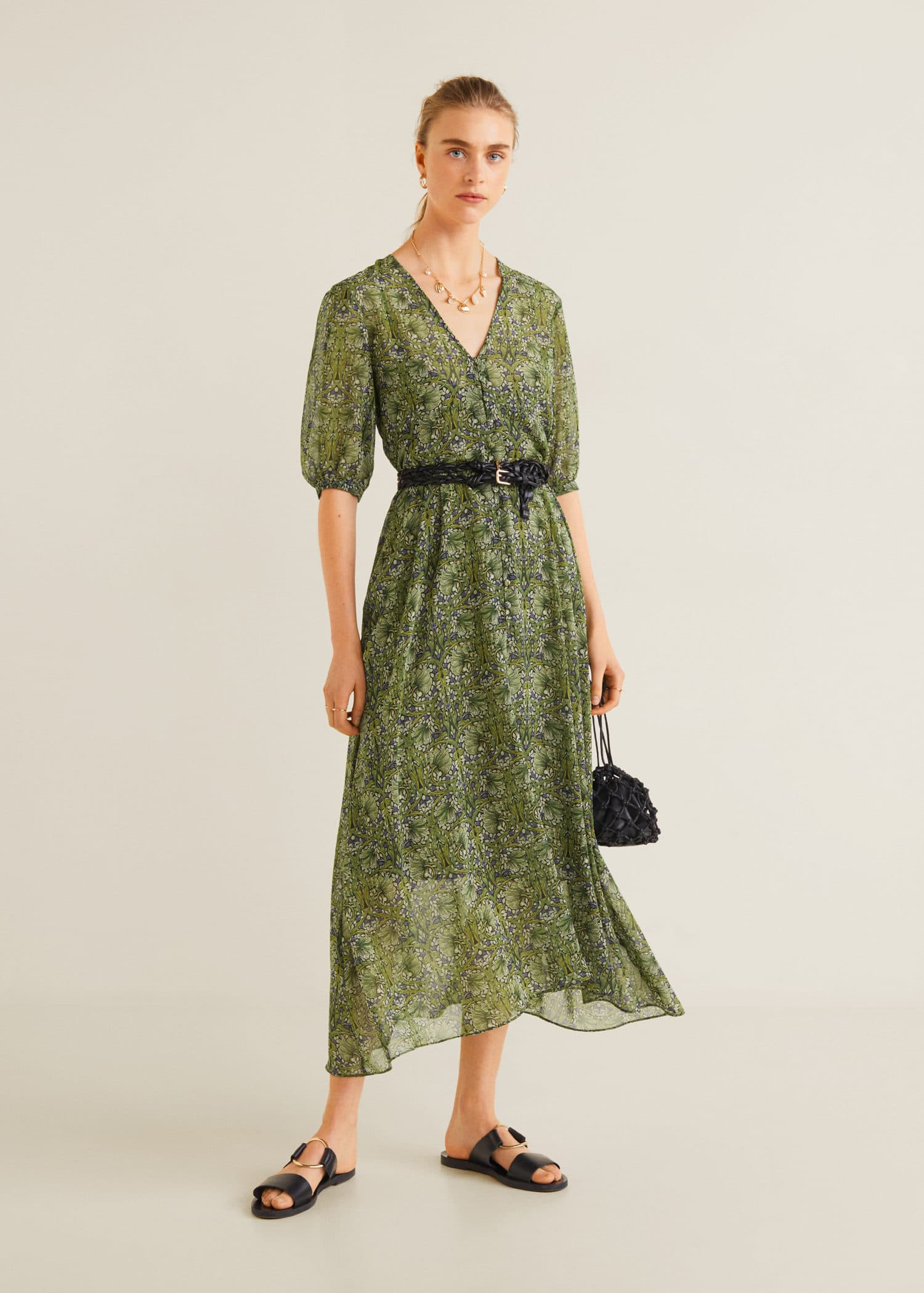 Vestido verde plisado mango
