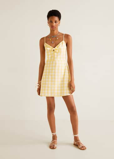 244fb45159 Gingham check bow dress - General plane