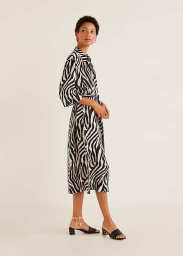7f57ae66a04df52 Платье-рубашка с анималистическим принтом - Общий план. Выберите размер