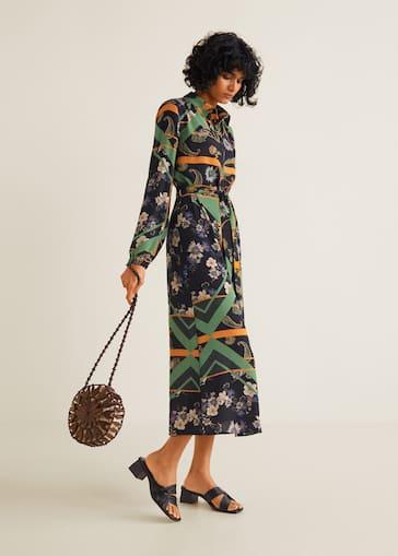 8889b22244f7d Scarf-print shirt dress - Women | Mango USA