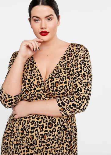 7739e170fe84c9 Leopard print wrap dress - Plus sizes   Violeta by Mango Norway