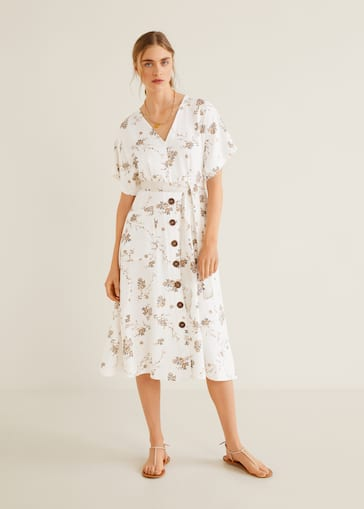 b938dc2e0f7 New NowLinen-blend midi dress.  79.99. Midi printed dress - General plane