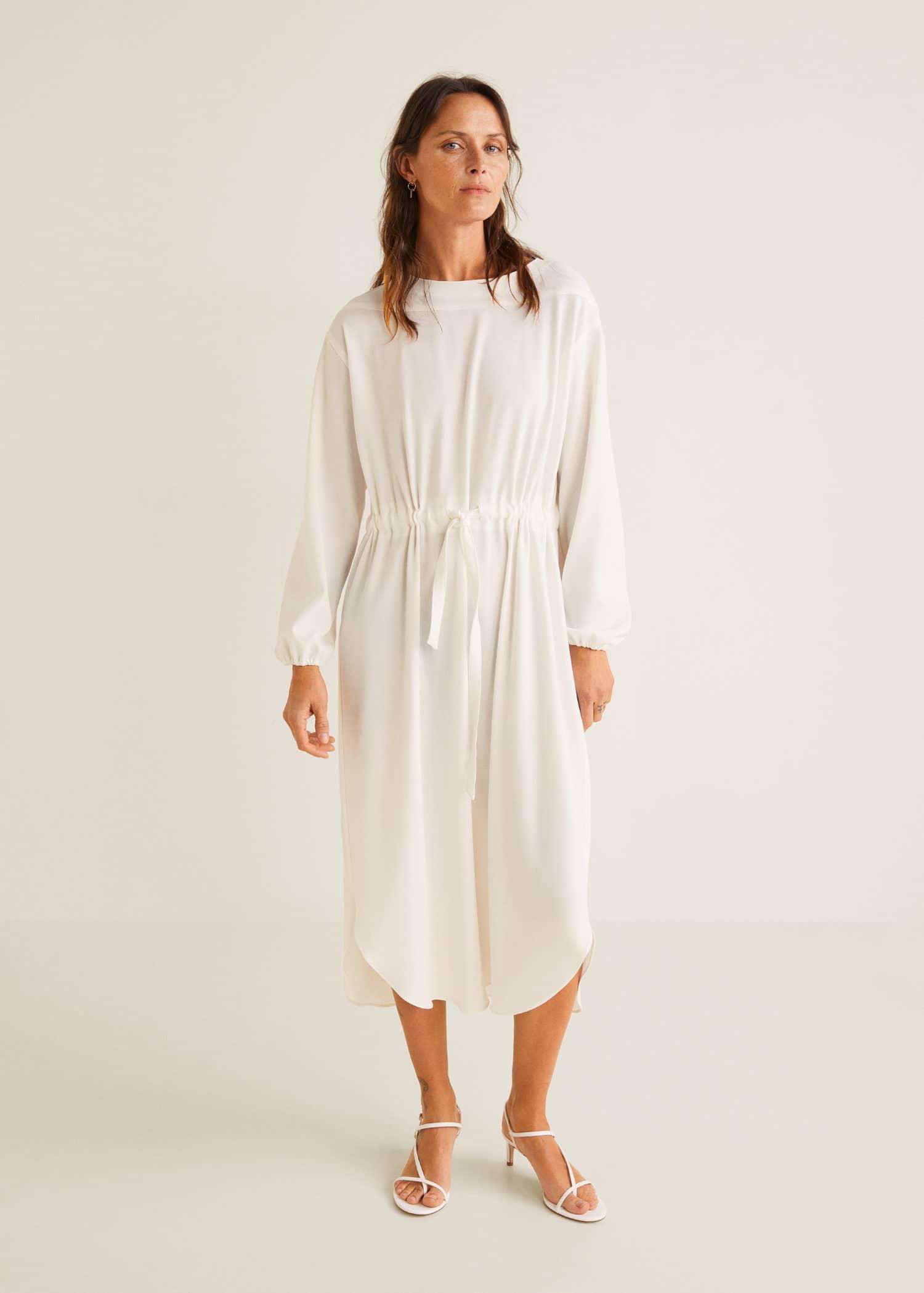 Vestido seda blanco mango