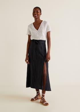 79950743c3 Striped linen-blend skirt - General plane
