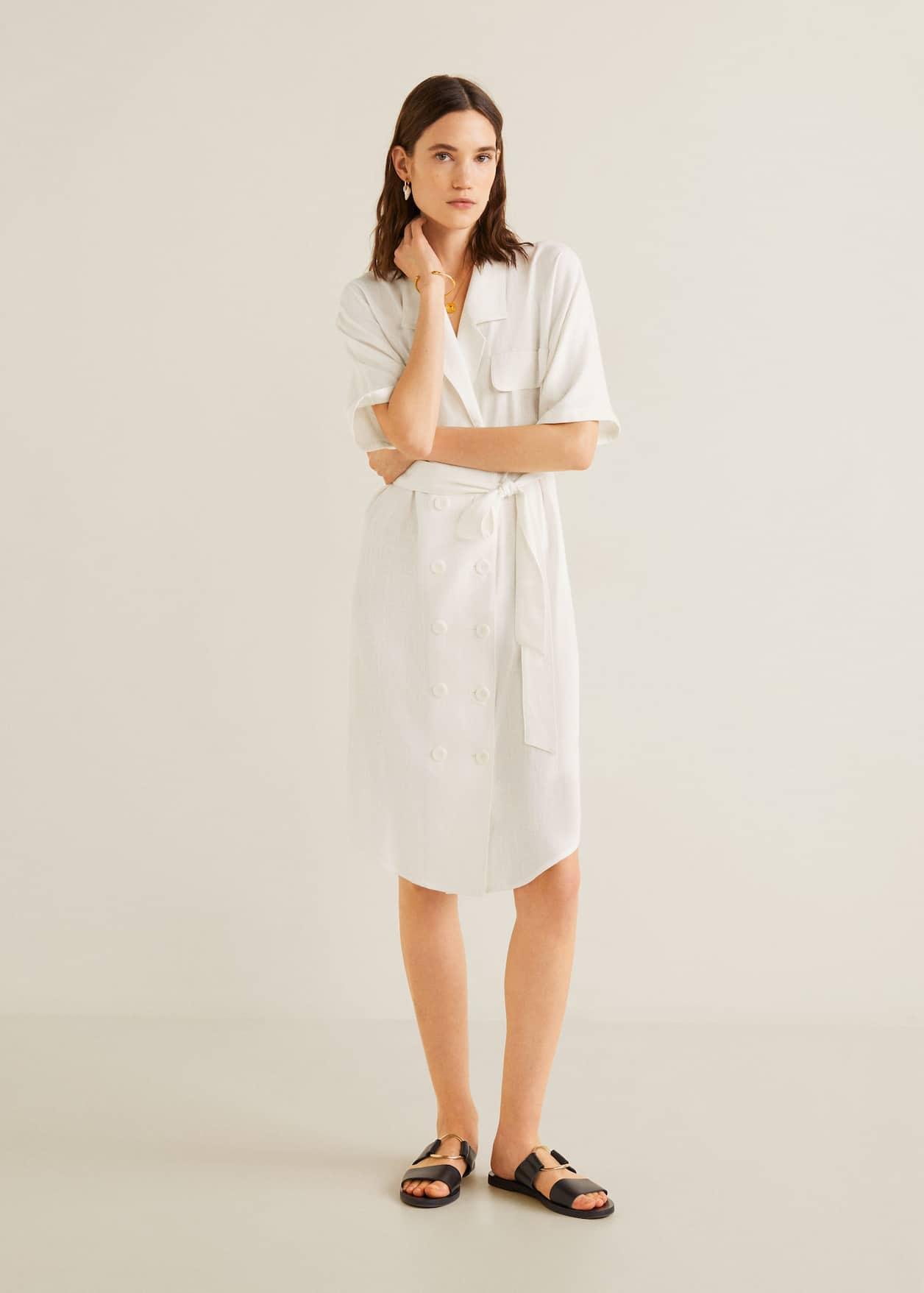 Lniana koszulowa sukienka