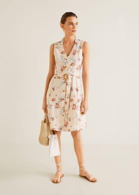 6a27bac35fe Льняное платье с поясом - Общий план