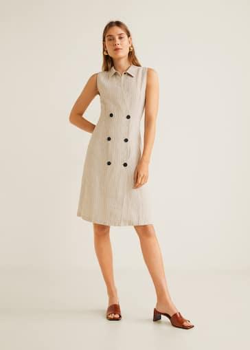 6974d083482f Striped linen dress - Women   Mango United Kingdom