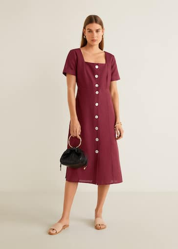 476ee61df80 Buttoned linen-blend dress - General plane