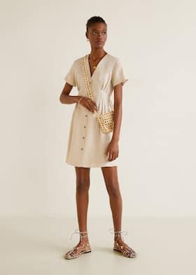 Pleats detail linen-blend dress 4ddc0e28619