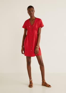 Pleats detail linen-blend dress 969ddce2b69