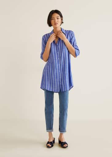 d354a655f2bb Oversize striped shirt - Women | Mango USA