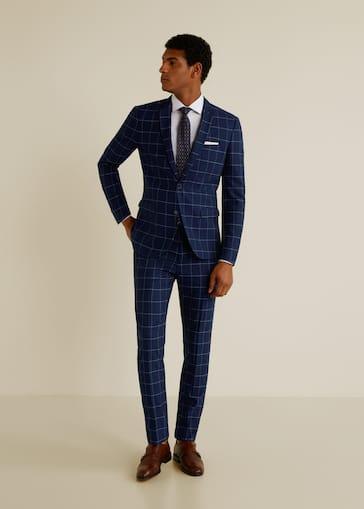 6401eaf25e Pantalón traje super slim-fit cuadros - Hombre