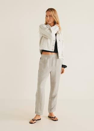 Pantaloni din in cu garnituri contrastante - Plan general. Selectează  mărimea f0dc8de8e7f