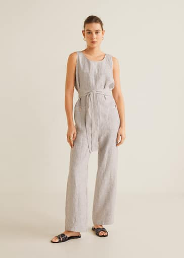 eb8ed994971 Long linen-blend jumpsuit - General plane