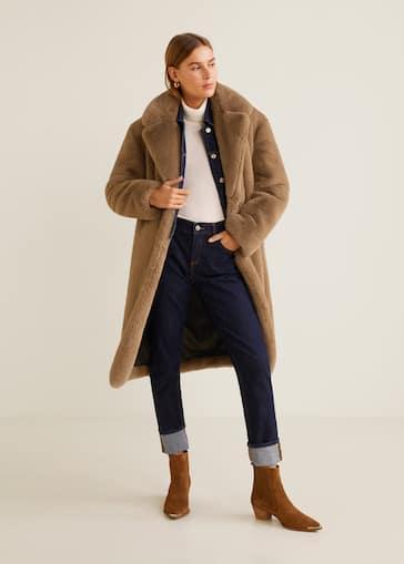 97cbe699428d9 Oversize faux-fur coat - General plane