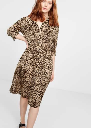 adbb059a9d034 Leopard-print shirt dress - Plus sizes