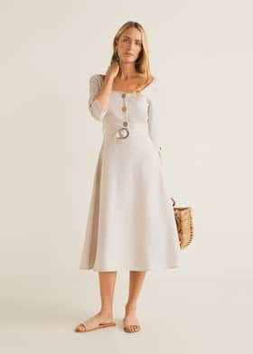 be5a0e39838 Belt linen dress - General plane