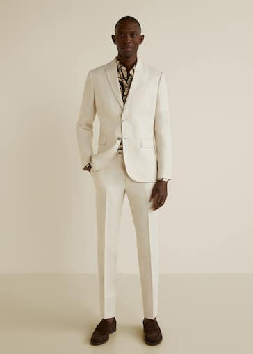 Pantalón traje slim-fit lino 5b6618c1190
