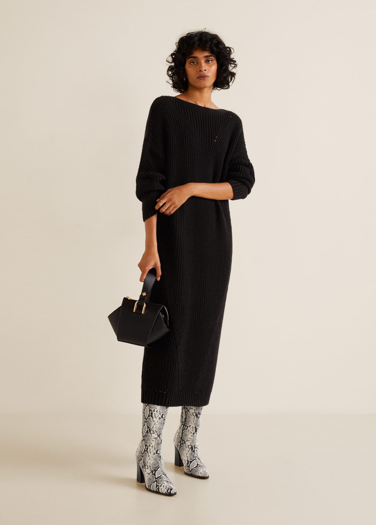 Vestido largo negro guipur