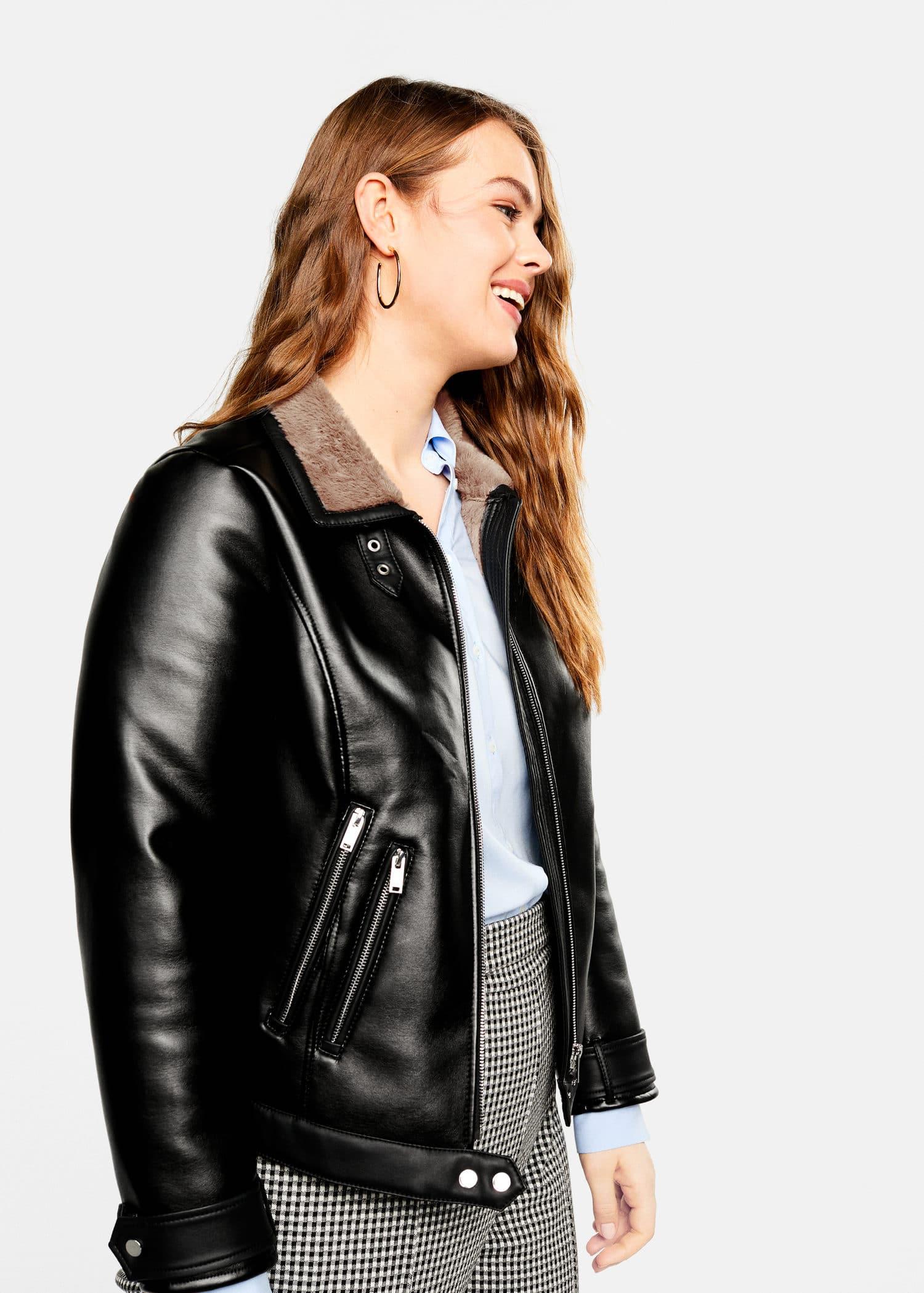 2428fb6b18e Faux-fur lining biker jacket - Plus sizes