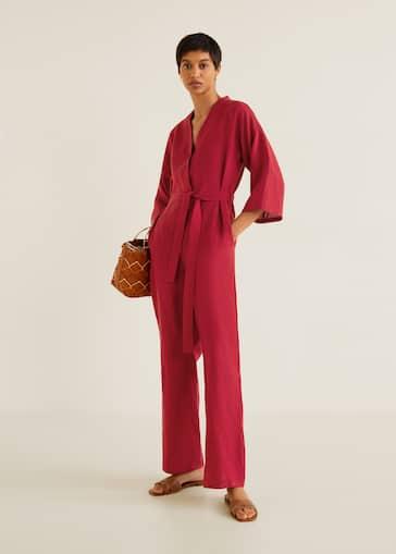 Long linen-blend jumpsuit - Women   Mango USA