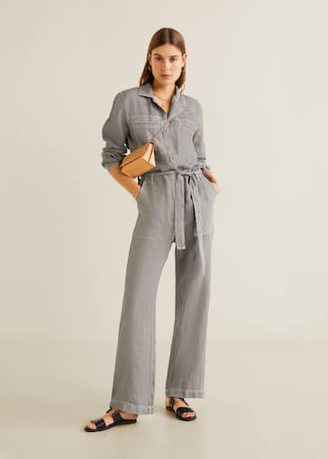 6998005bc5a Long linen-blend jumpsuit - General plane