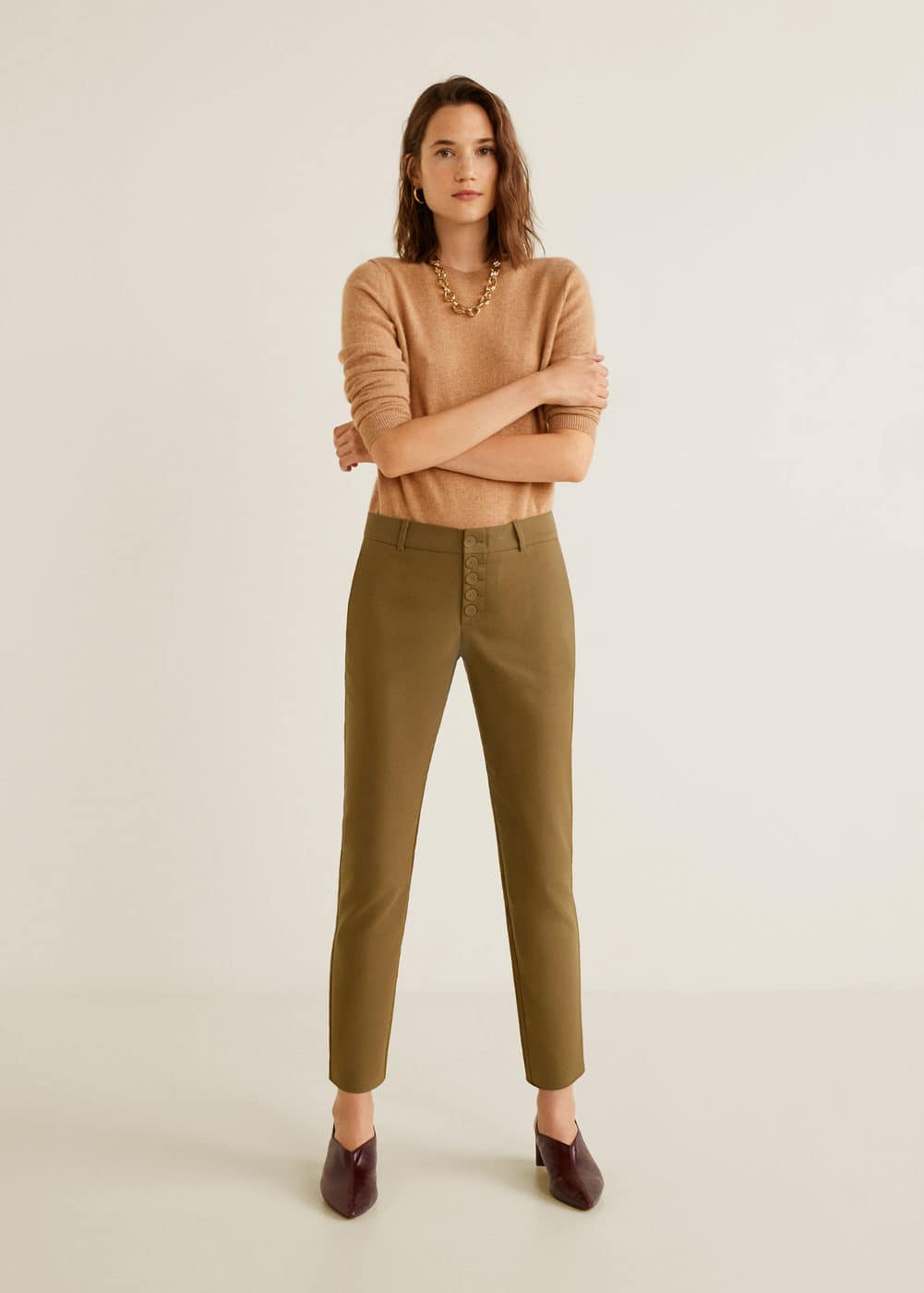Mango - Buttons cotton trousers - 2