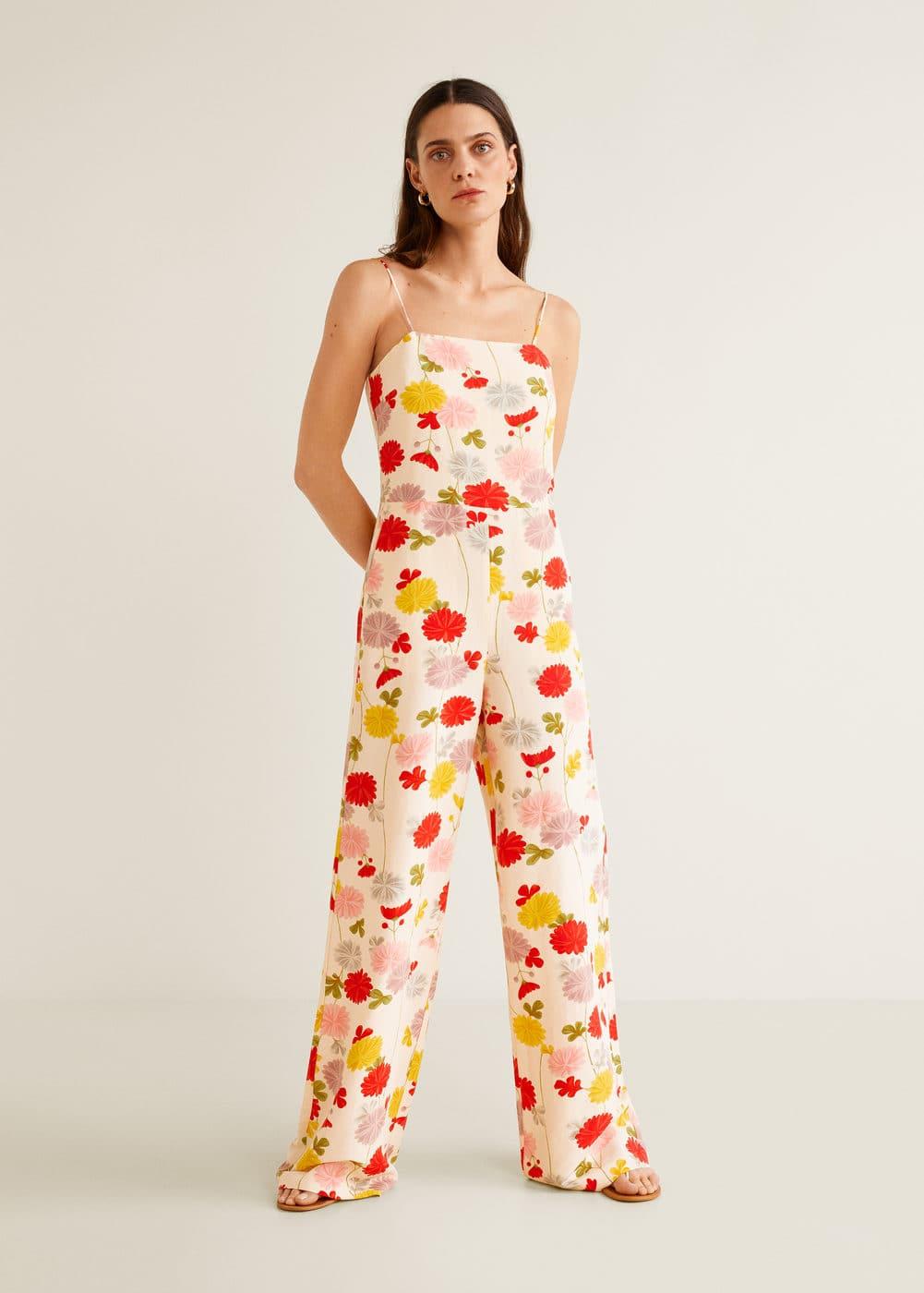 Mango - Flower linen-blend jumpsuit - 2