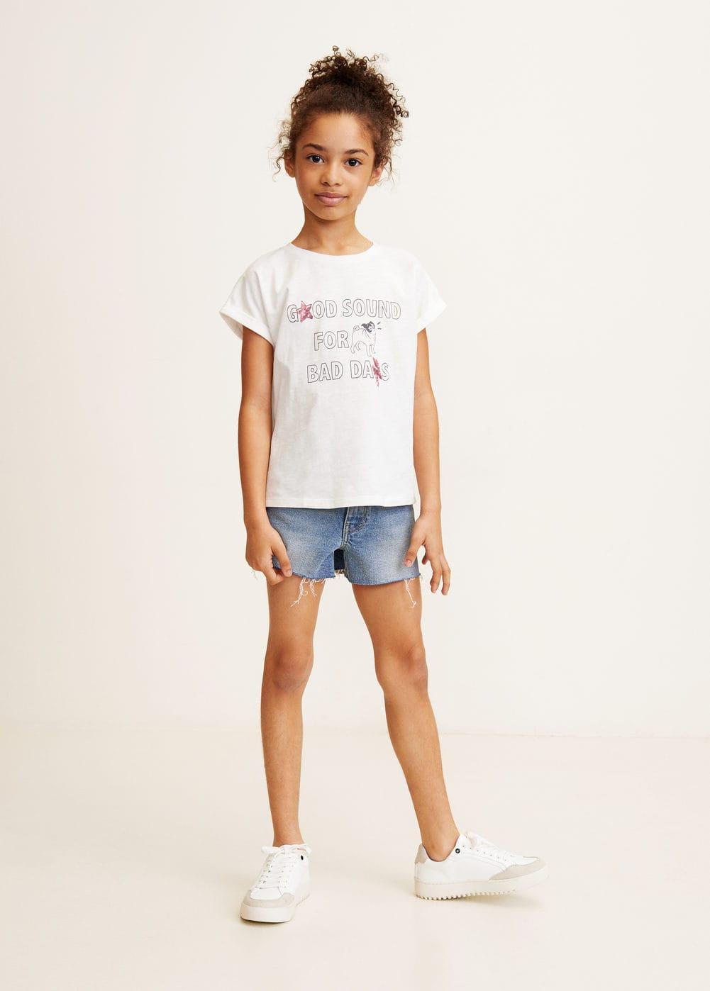 6af4639e T-skjorte med trykt tekst - Jente | Mango Kids Norge