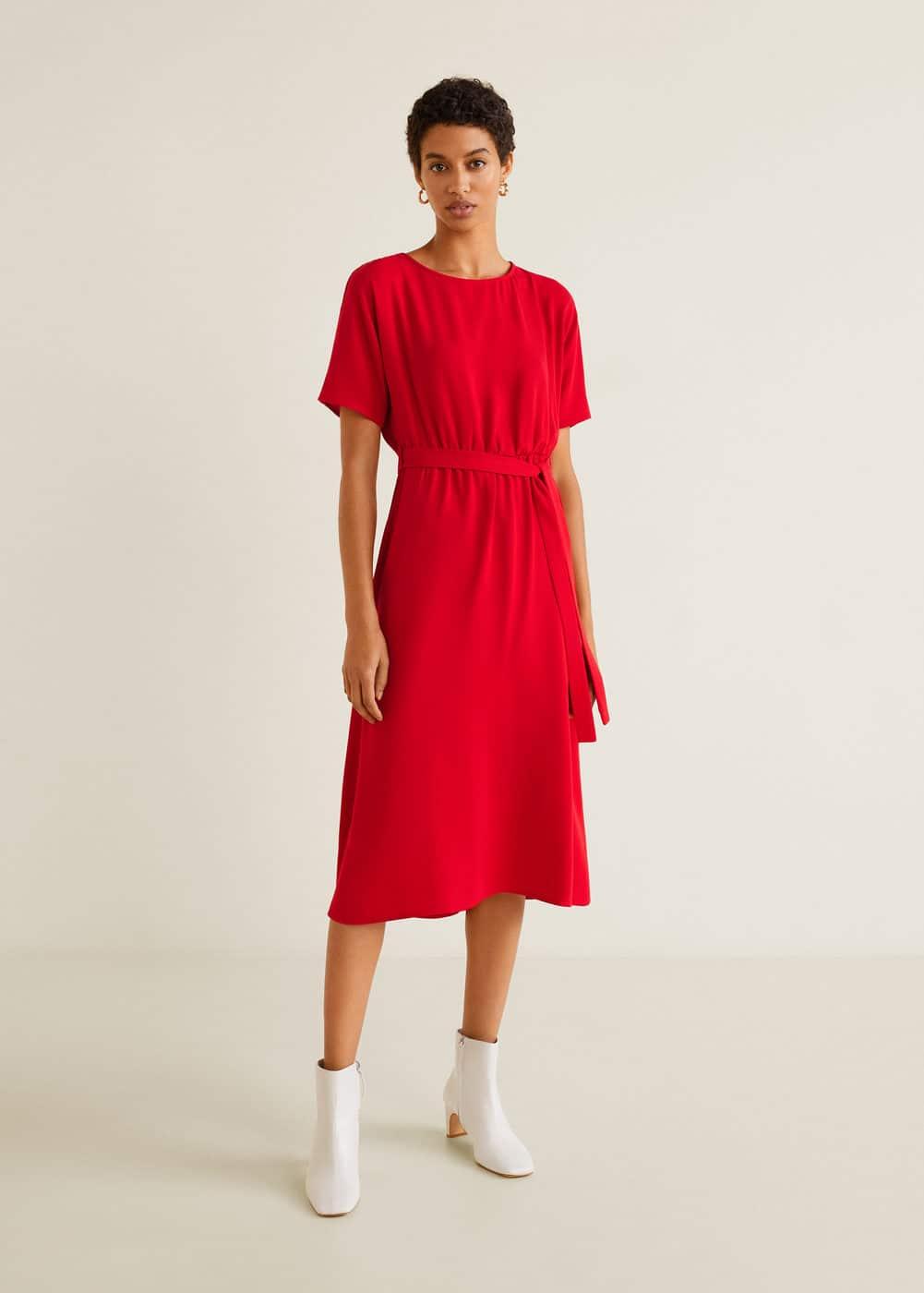 Mango - Fließendes Kleid mit Schleife - 2