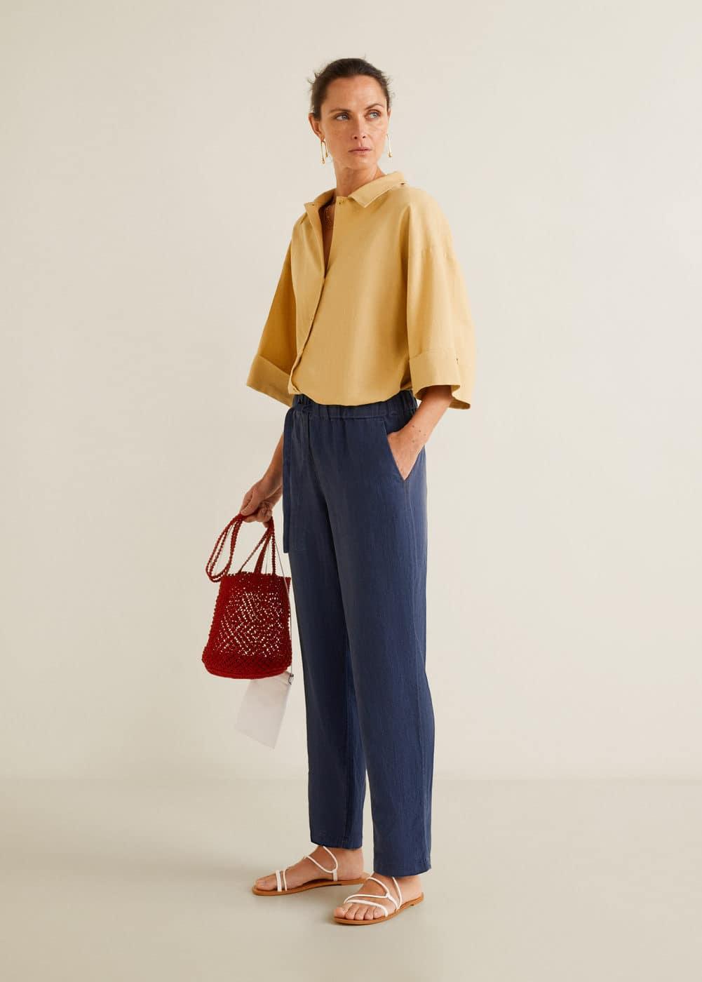 Mango - Straight linen-blend trousers - 2