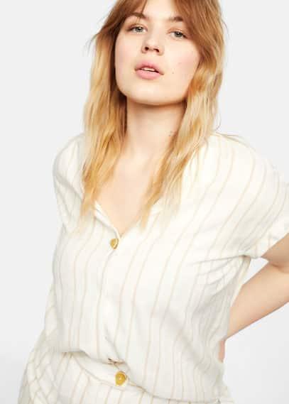 Блузка в полоску с пуговицей - Pop
