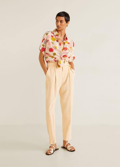 Льняная рубашка с цветами - Domi