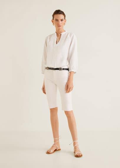 Блузка в полоску, со льном - Marion