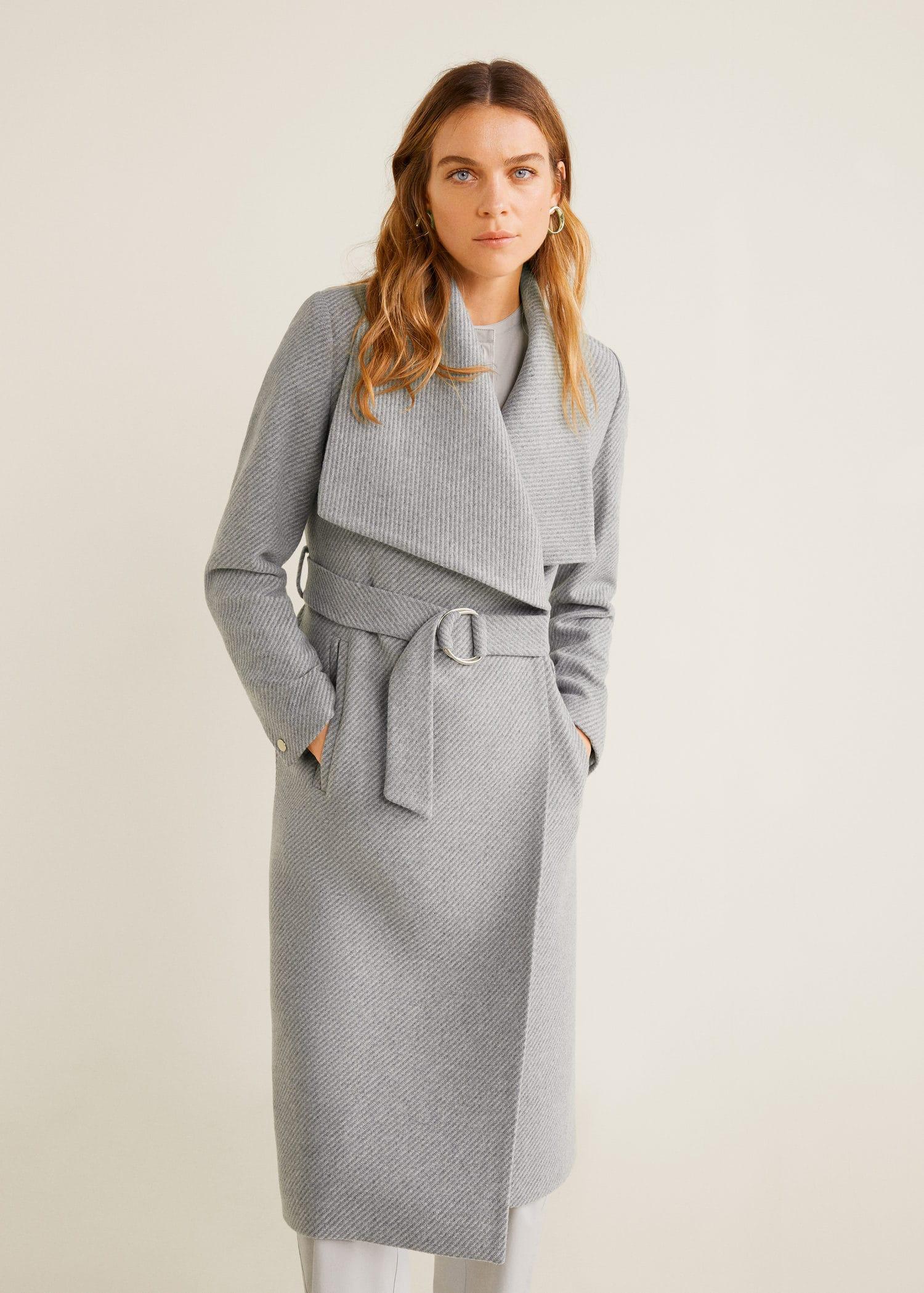 Wide lapel wool blend coat