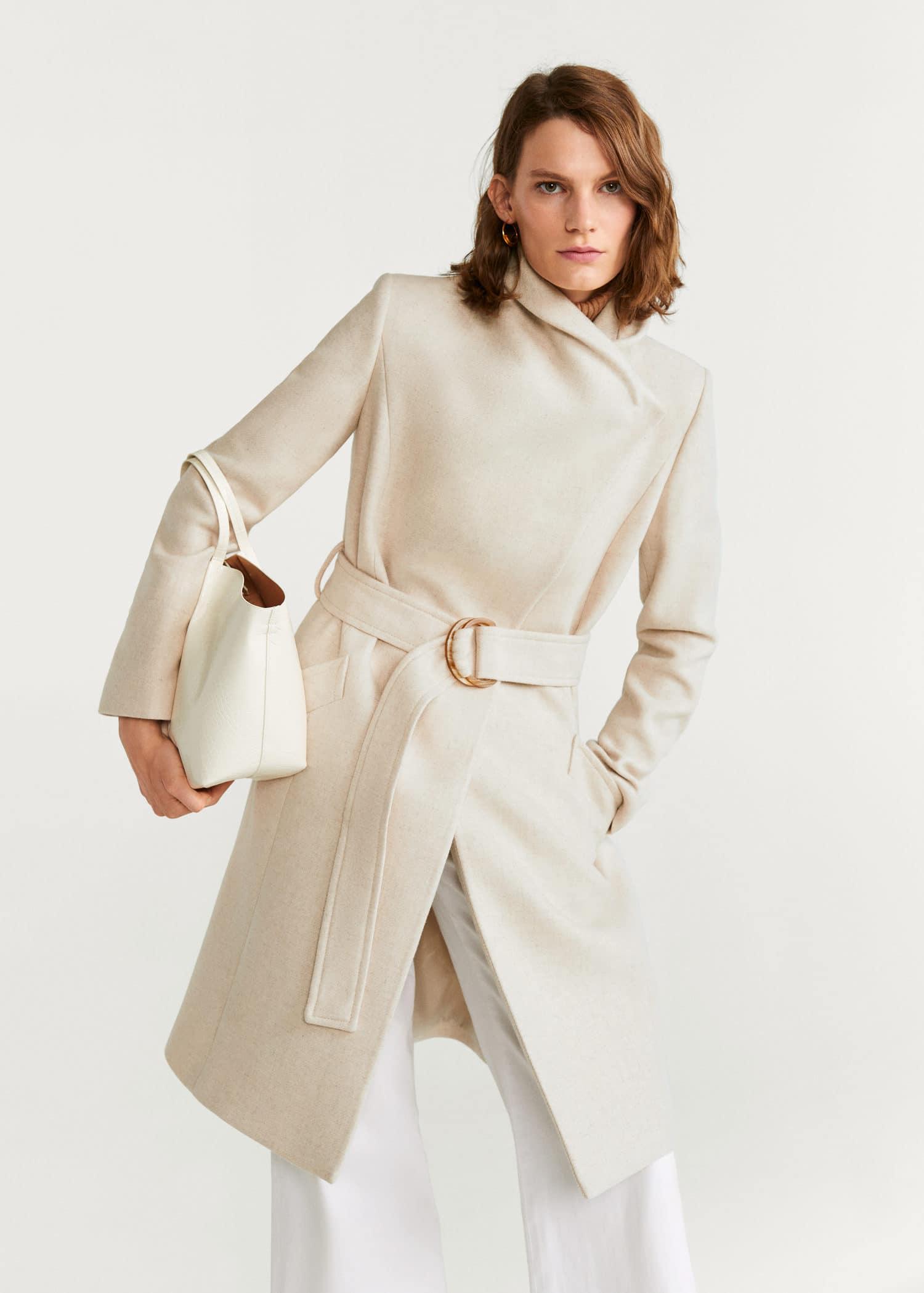 Cappotto lana cintura Donna | Mango Italia