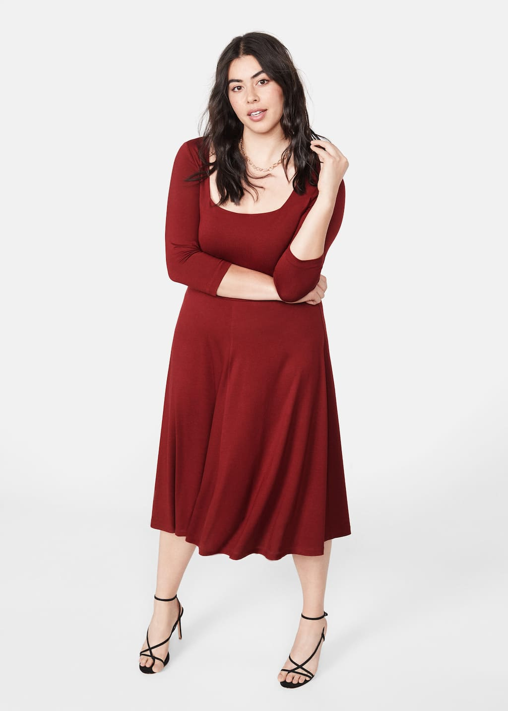 0fda9adef8d Flared midi dress - Plus sizes | Violeta by Mango Oman