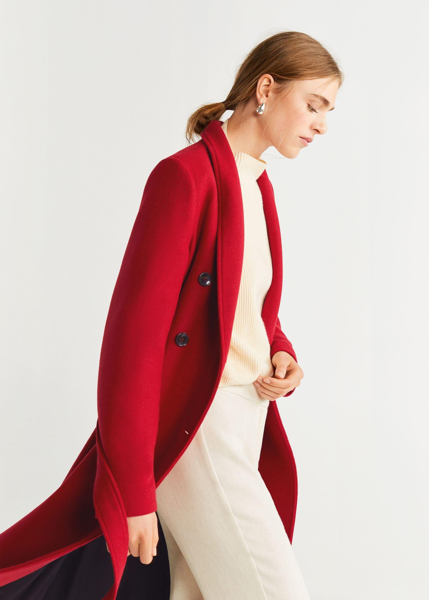 Zweireihiger Mantel aus Woll Mix