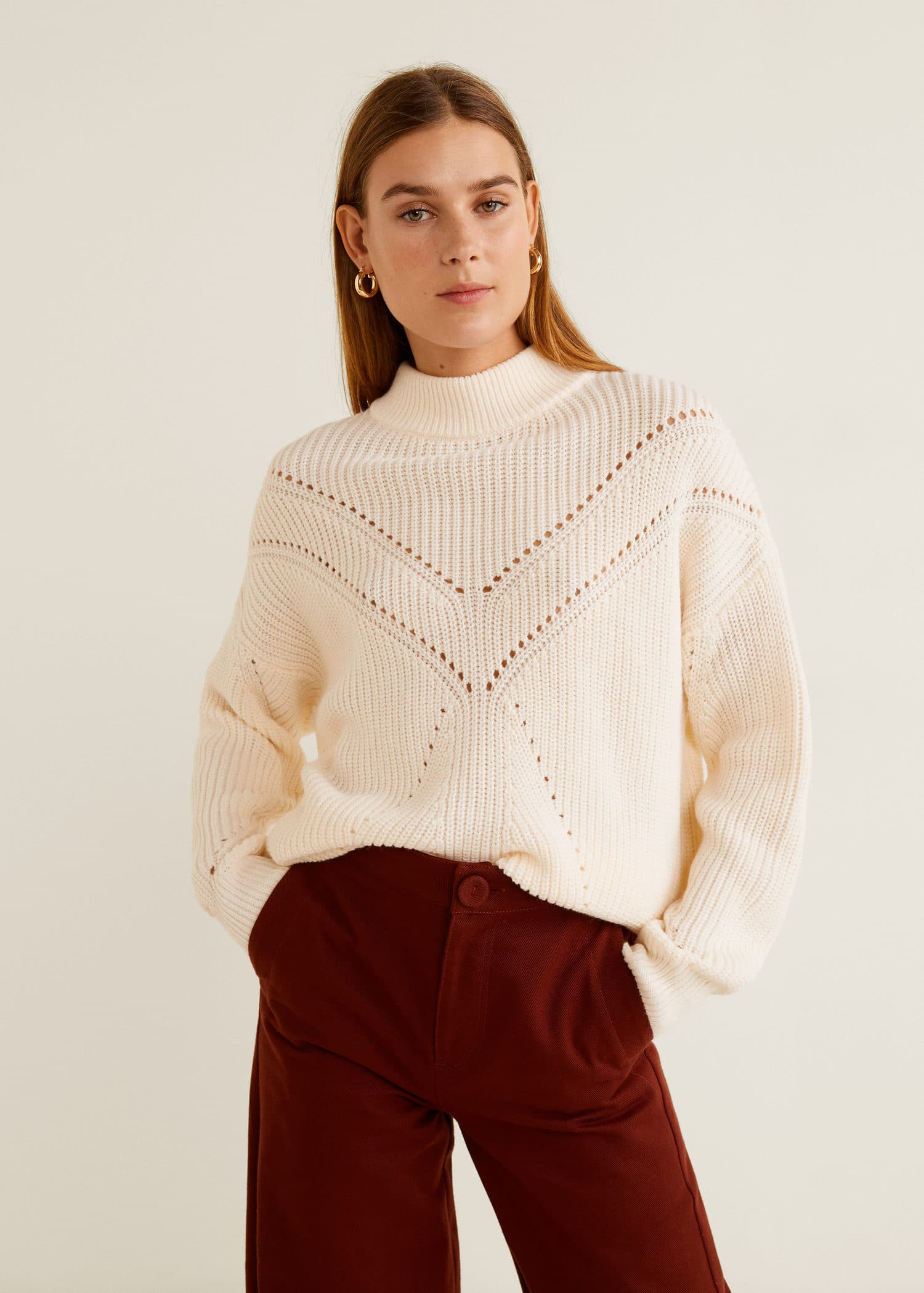 factory authentic crazy price outlet store Contrasting knit sweater - Women   Mango United Kingdom