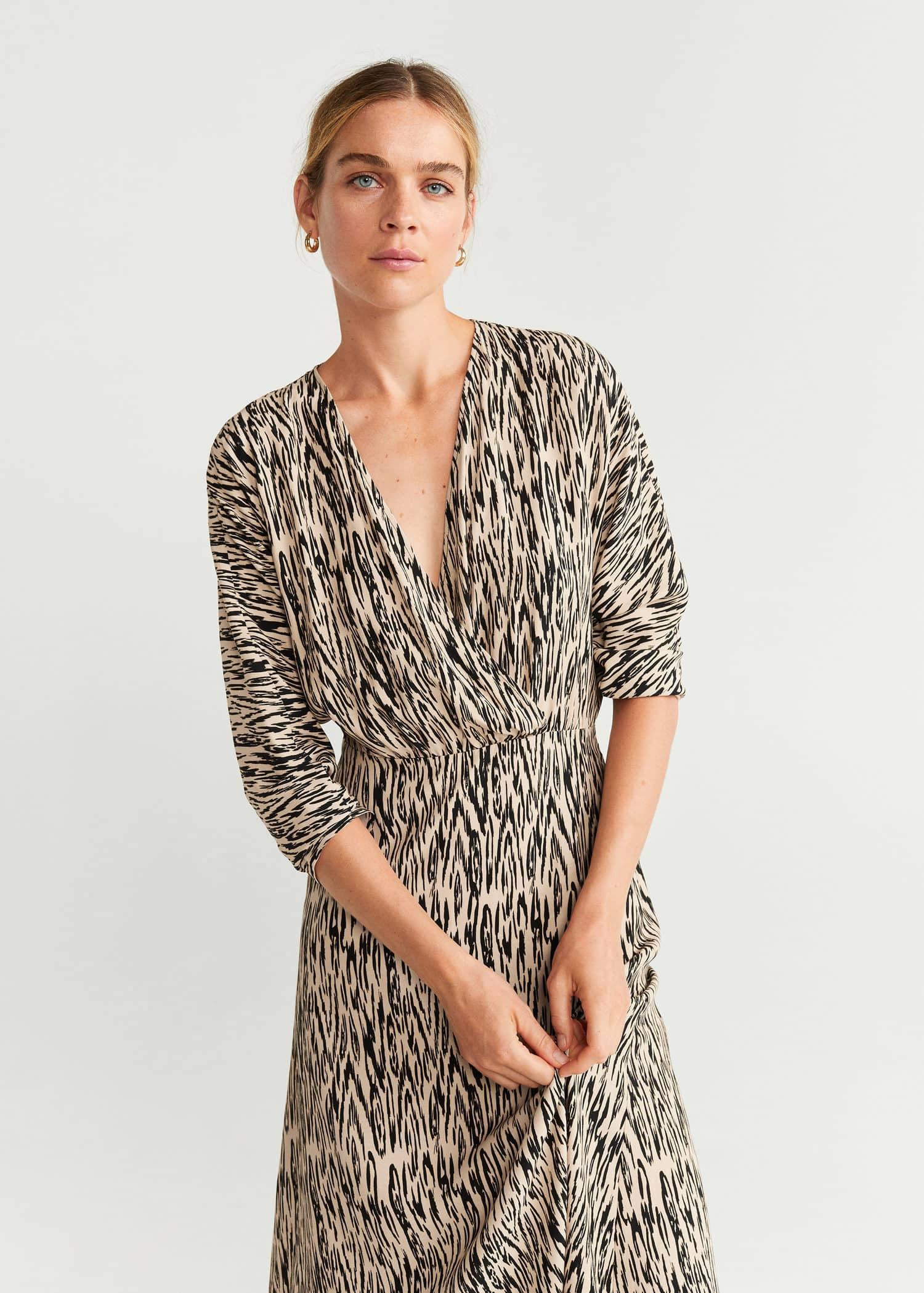 robe col v à manche longue imprimé animal