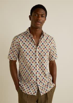 fbc41119bfc Regular-fit geometric print shirt - Medium plane