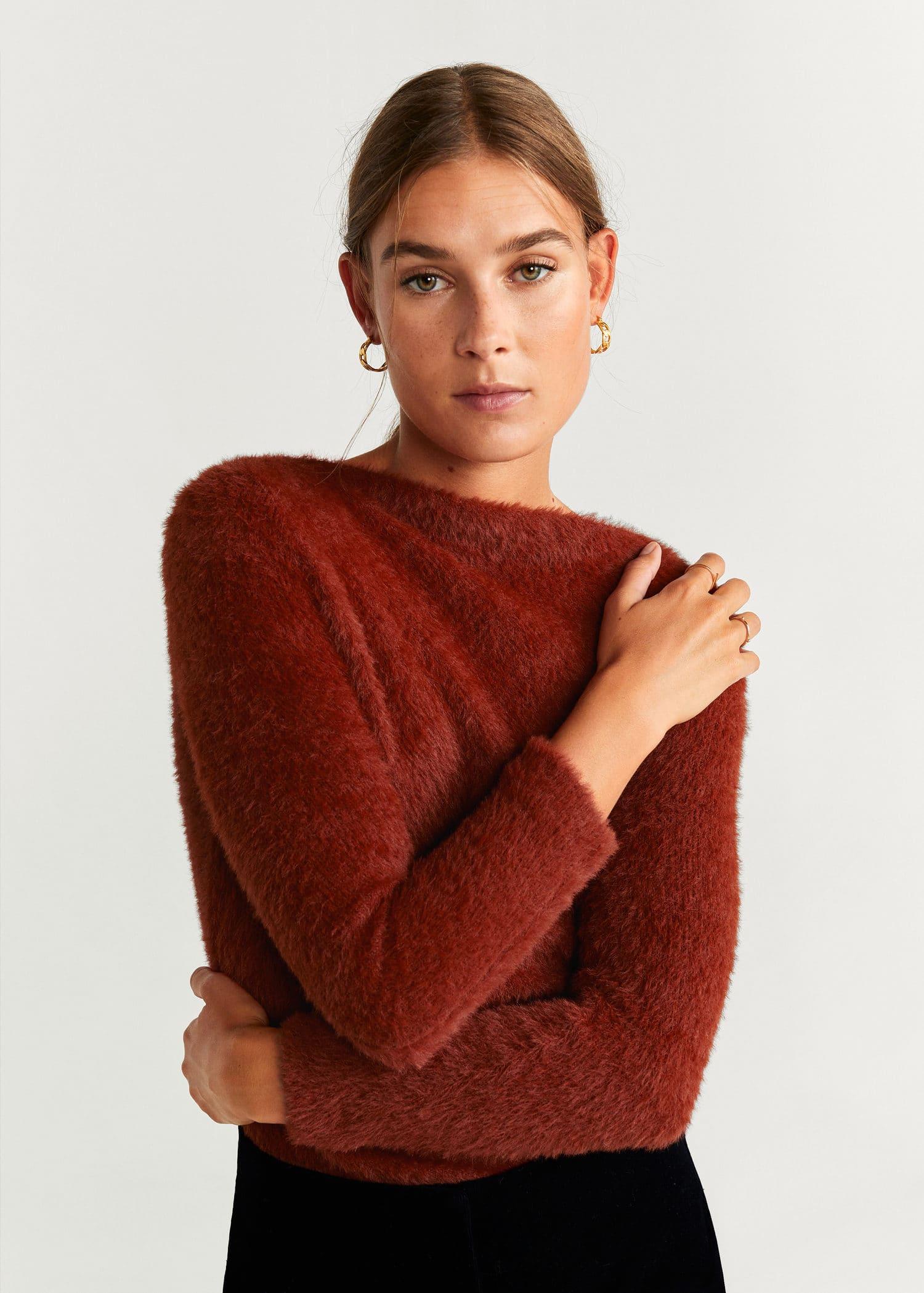 mango pull rouge femme