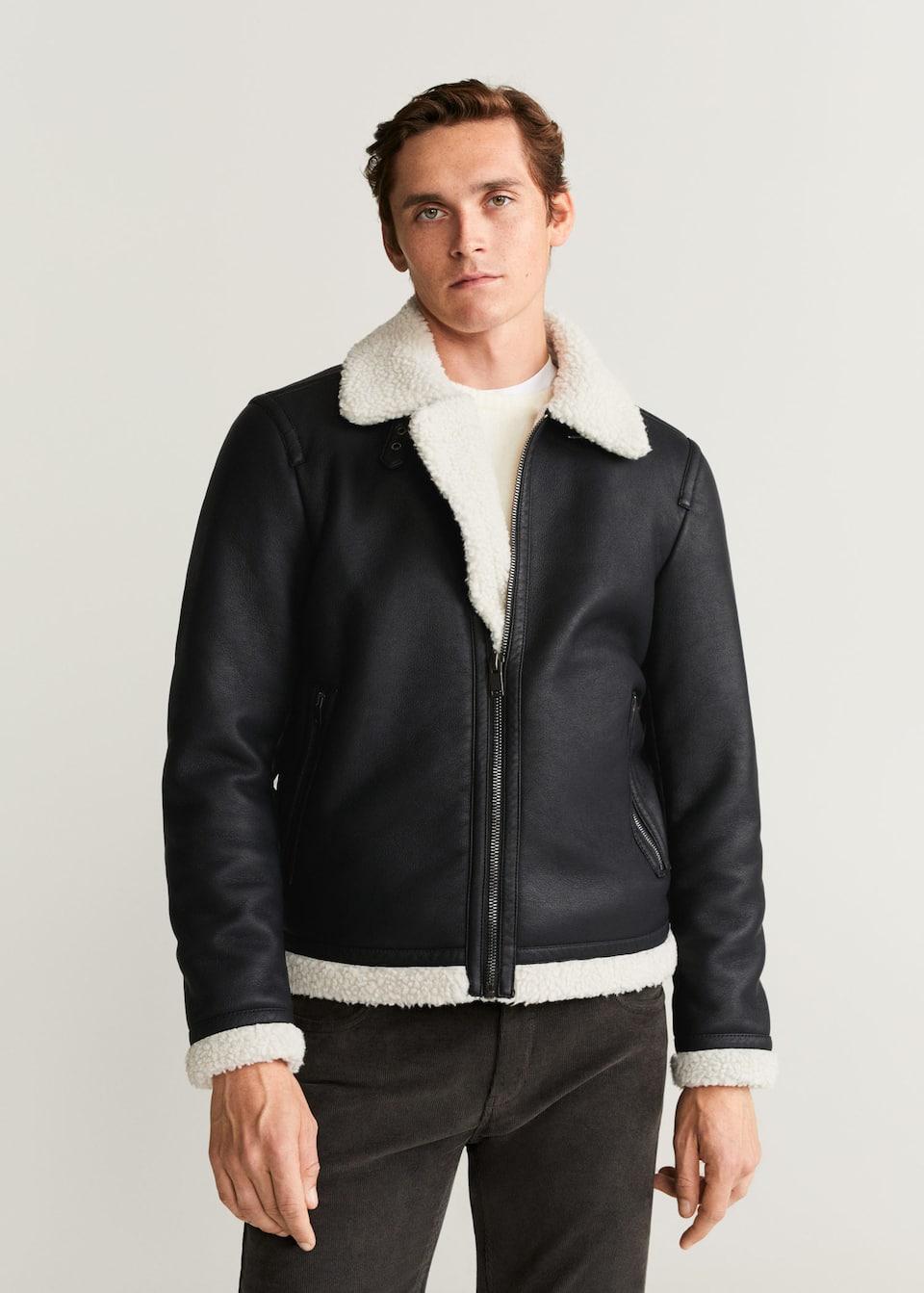 shearling / pile jacket from Mango