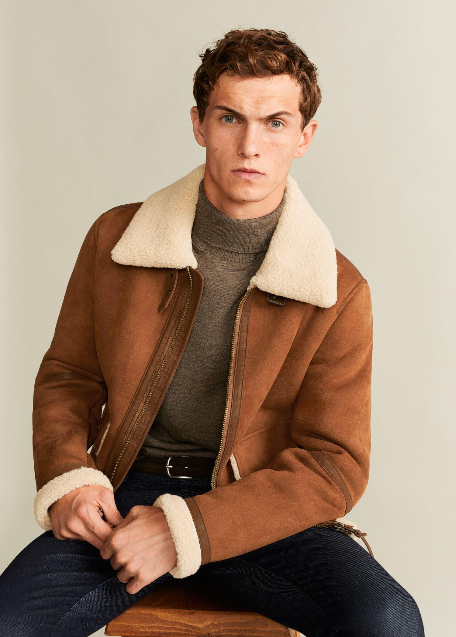 sale 50% off wholesale Faux-shearling suede effect jacket - Man | Mango Man Bermuda